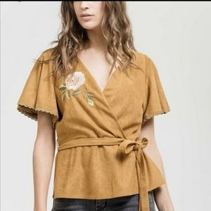 NWT Anthropologie Suede Embroidered Wrap Top